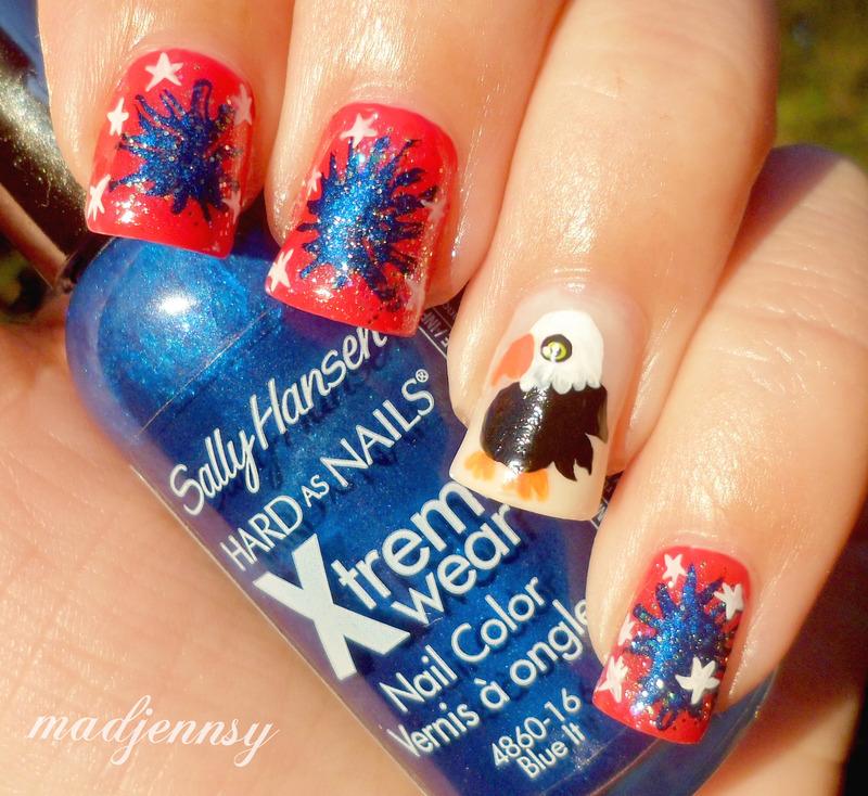 4th of July Red, Blue & White + Eagle Nail Art  nail art by madjennsy Nail Art