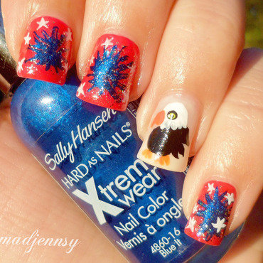 4th of July Red, Blue & White + Eagle Nail Art  nail art by madjennsy Nail Art