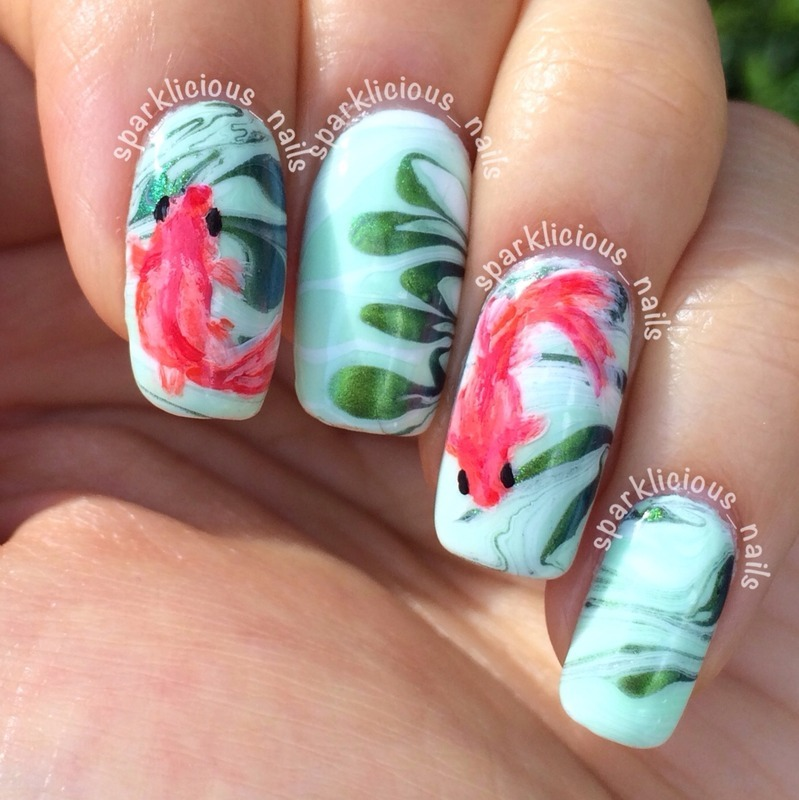 "Goldfish in Watermarbled Pond nail art by Amanda ""Sparklicious Nails"""