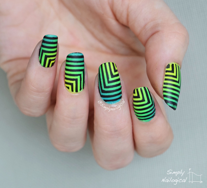 Hypnotizing black and neon squares nail art by simplynailogical