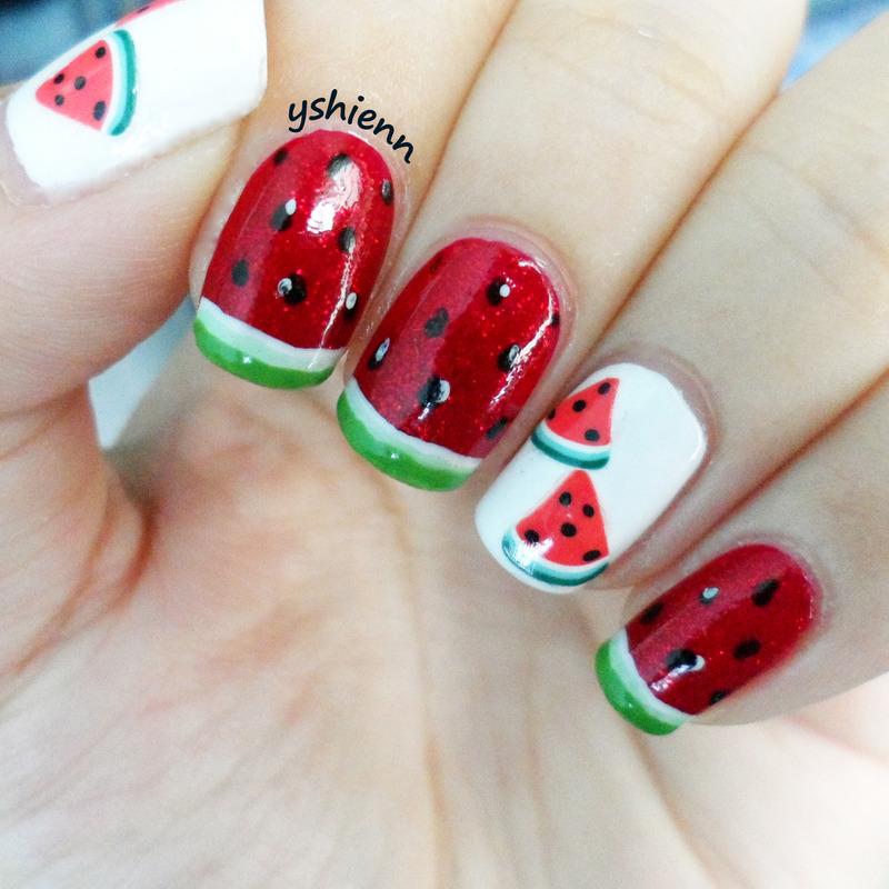Watermelon nail art by Shien