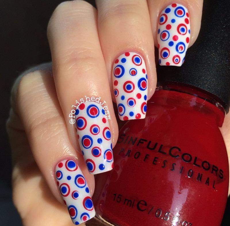 Independence Day Dotticure  nail art by PolishedJess