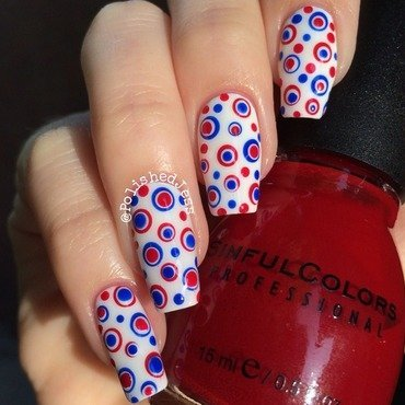 Independence Day Dotticure  nail art by PolishedJess