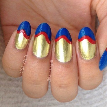 Red, Gold, and Blue Funky French nail art by Kasey Campa