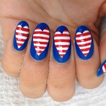 Fourth of July Love nail art by Kasey Campa