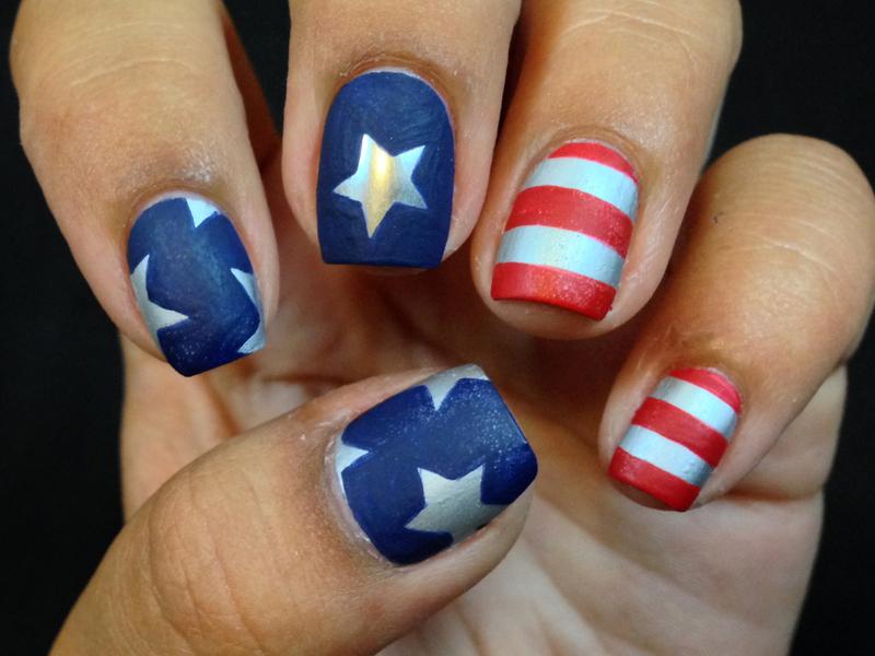 Stars and Stripes Nail Art nail art by Celine Peña