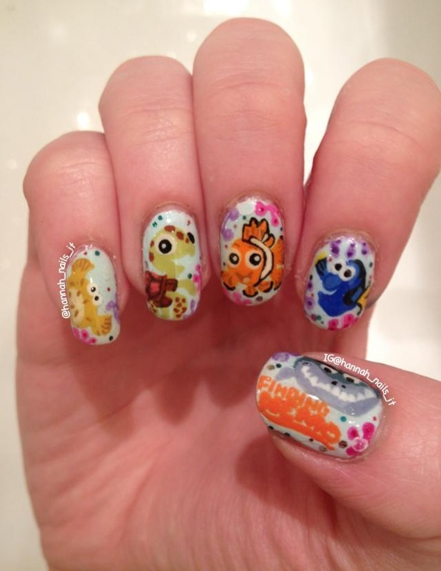 Finding Nemo nail art by Hannah