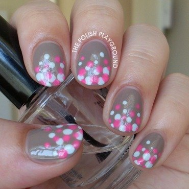 Blue and Pink Polka Dot Gradient nail art by Lisa N