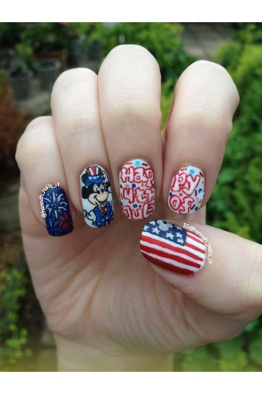 Patriotic Mickey nail art by Hannah