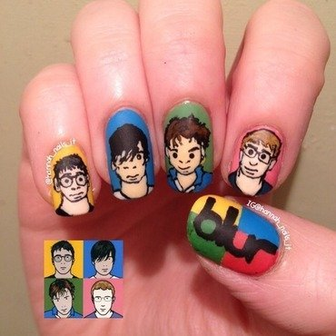 'Blur' album inspired nail art by Hannah