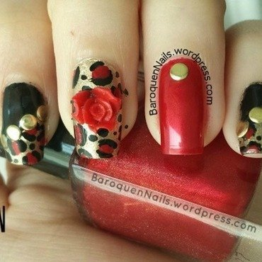 Leopard, Studs, And Roses nail art by BaroquenNails