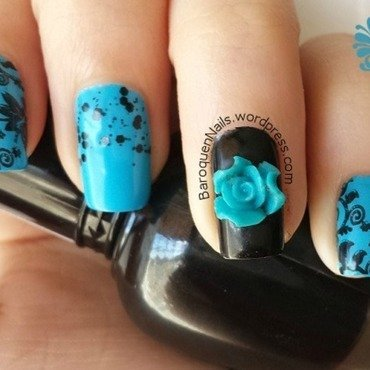 Black And Blue And Floral All Over nail art by BaroquenNails