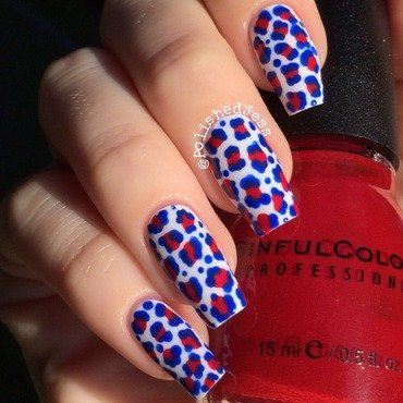 Independence Day Leopard Print nail art by PolishedJess