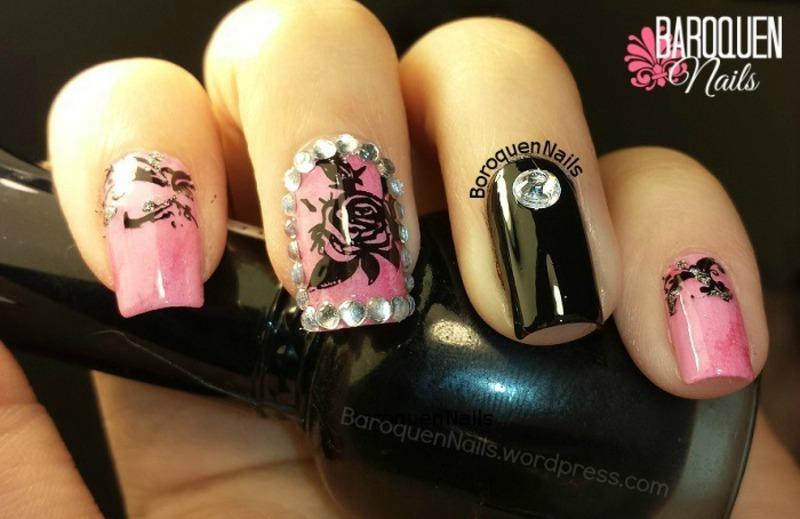 Framed Rose nail art by BaroquenNails