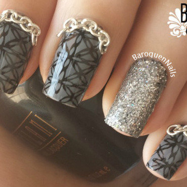 Chainlinked nail art by BaroquenNails