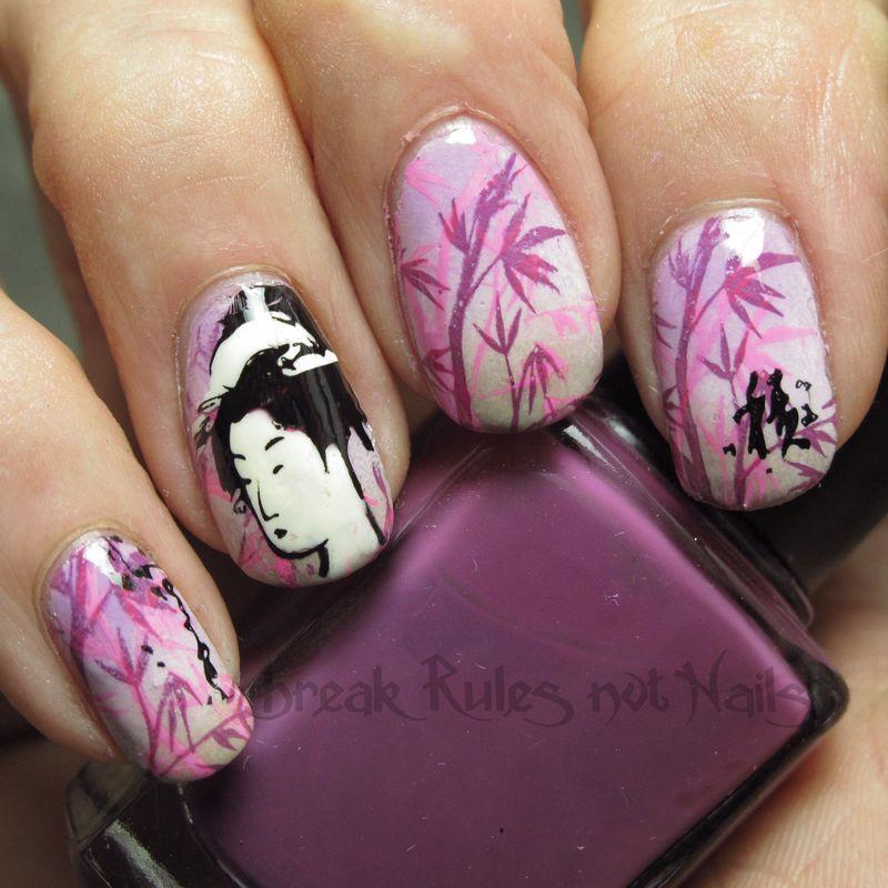 Pink Geisha  nail art by Michelle