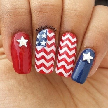 Patriotic nails nail art by Gifted_nails