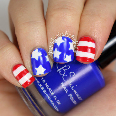 Patriotic 4th of July Nail Art nail art by Kelli Dobrin