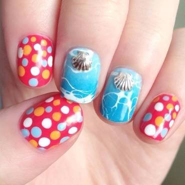 Beachy Polka Dots nail art by Anya Qiu