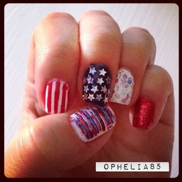 4th of July 2014 nail art by Ophelia85