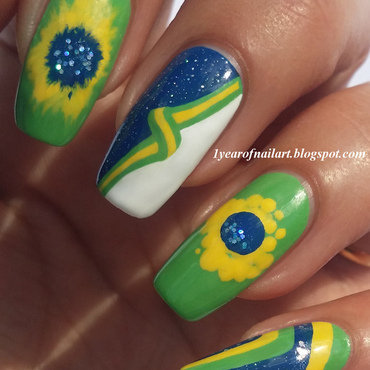 Good luck Brazil! (World Cup 2014) nail art by Margriet Sijperda