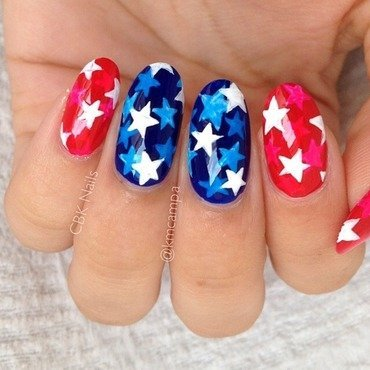 Red, White, and Blue Stars nail art by Kasey Campa