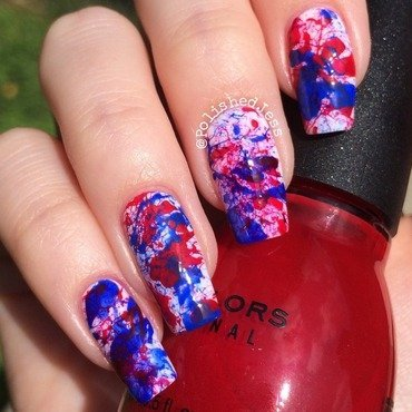 4th of July Splatter  nail art by PolishedJess
