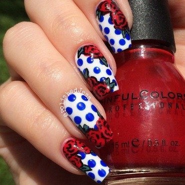 Independence Day Floral nail art by PolishedJess
