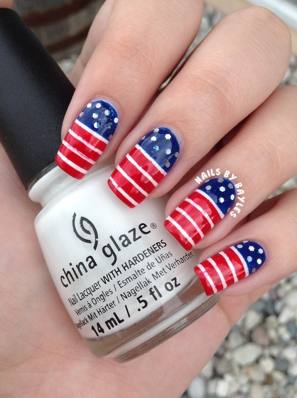 American Flag Inspired nail art by Baylie