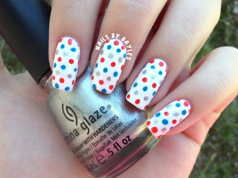 4th of July Dot Nails nail art by Baylie