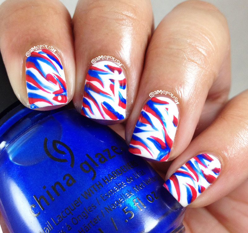 Random Red, White, and Blue nail art by Amber Connor