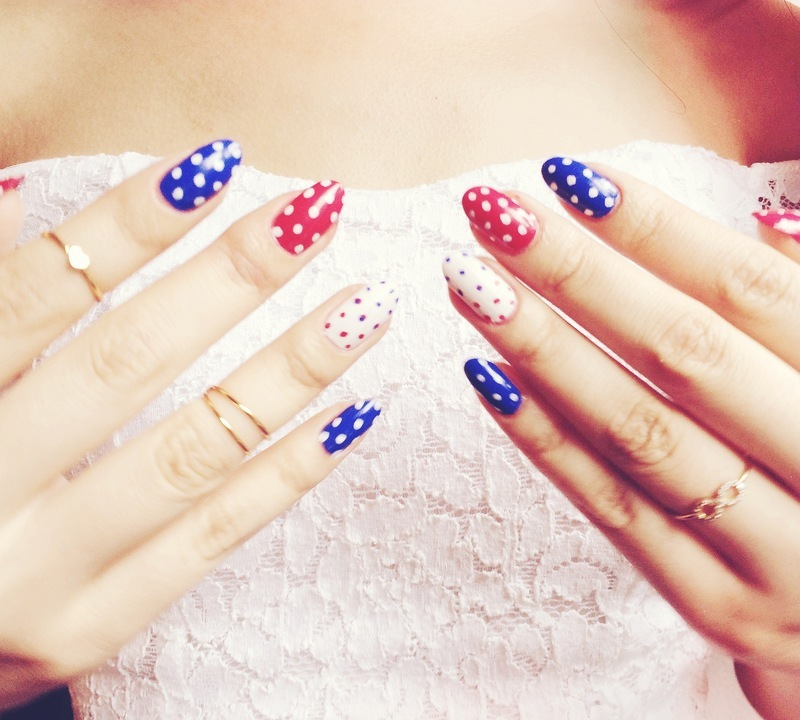 4th of July polka dot nails nail art by Michelle