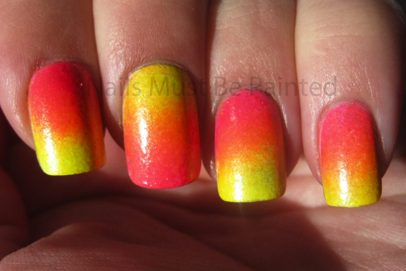Neon Gradient nail art by Emily