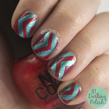 The never ending pile challenge chevron red blue nail art 4 thumb370f