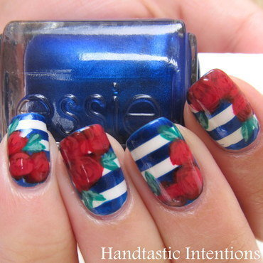Patriotic Roses nail art by Andrea