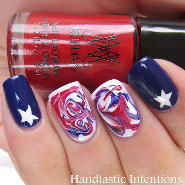 Patriotic Swirls nail art by Andrea
