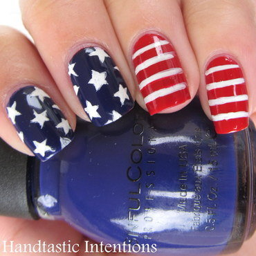 American Flag nail art by Andrea