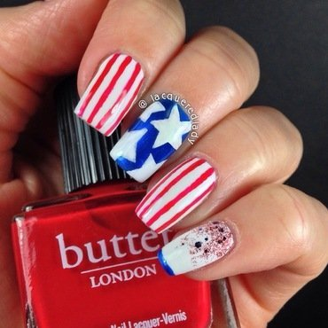 Stars and Stripes Forever! nail art by LacqueredLady