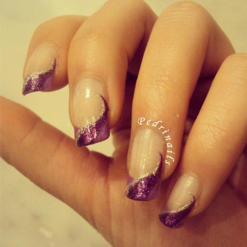Purple diagonal french manicure nail art by Pedrinails