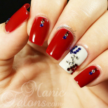 Red White and Blue with Crystals nail art by ManicTalons