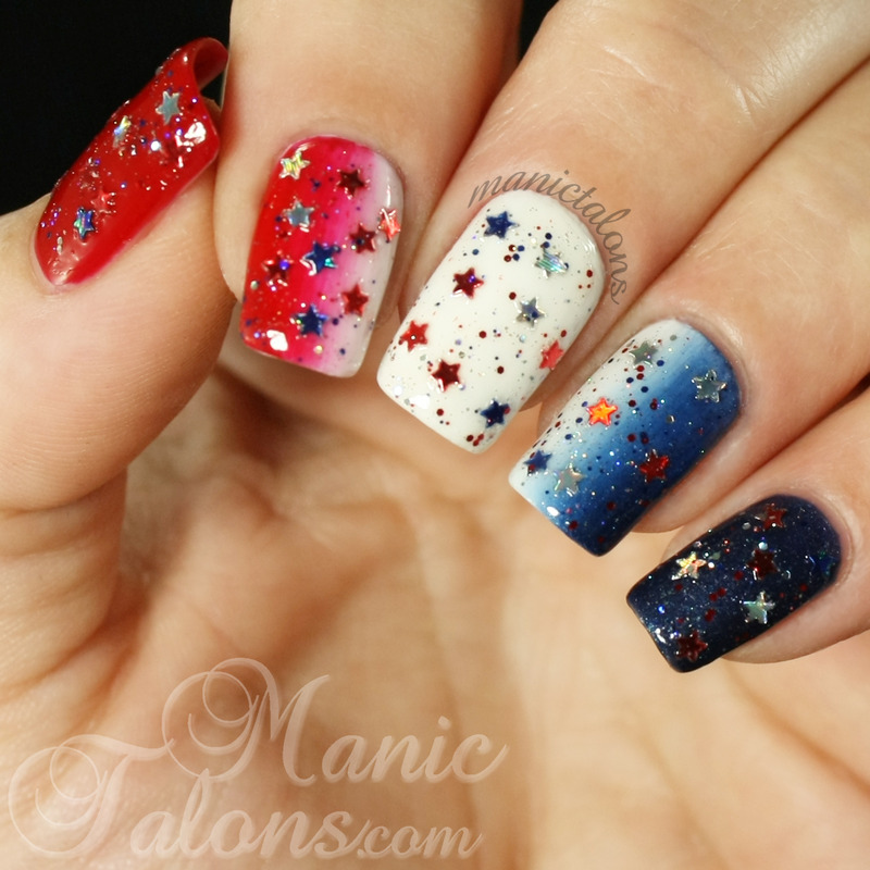 Red White And Blue Gradient Nail Art By Manictalons Nailpolis