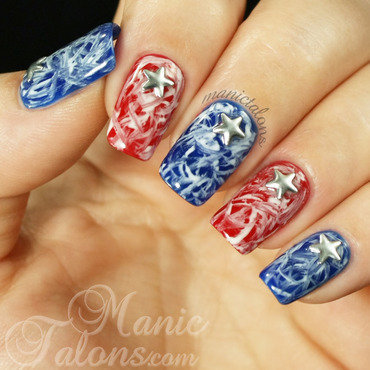 Independence Day Grunge nail art by ManicTalons