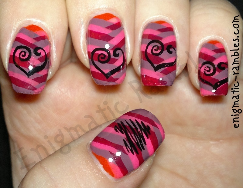 Fishtail Hearts nail art by Enigmatic Rambles