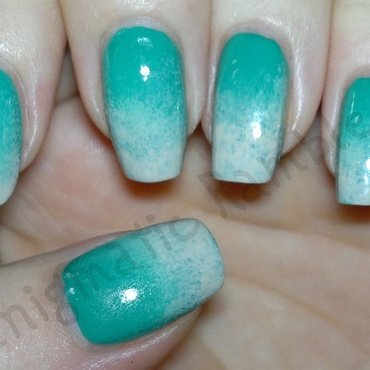 Green Nude Gradient nail art by Enigmatic Rambles