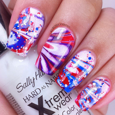 4th of July Watermarble nail art by Rose Mercedes