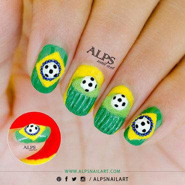 Fifa World Cup inspired Cupcake Nailart by Alpsnailart nail art by Alpsnailart