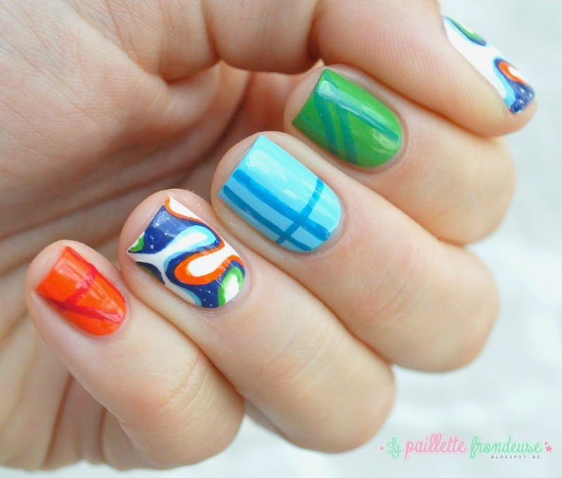 Brazuca nails - World cup 2014 nail art by nathalie lapaillettefrondeuse