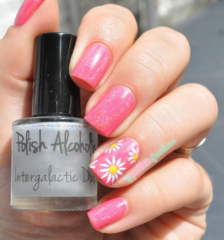 pink holo daisies nail art by nathalie lapaillettefrondeuse