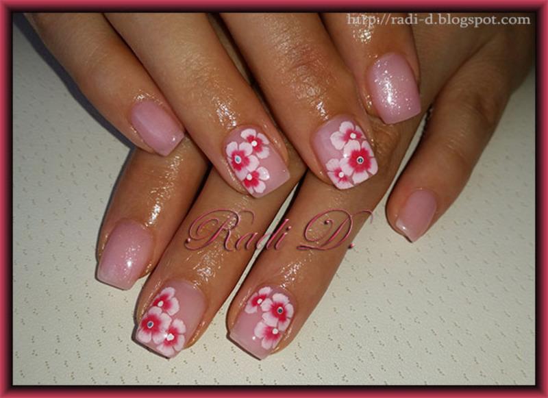 One Stroke Flowers nail art by Radi Dimitrova