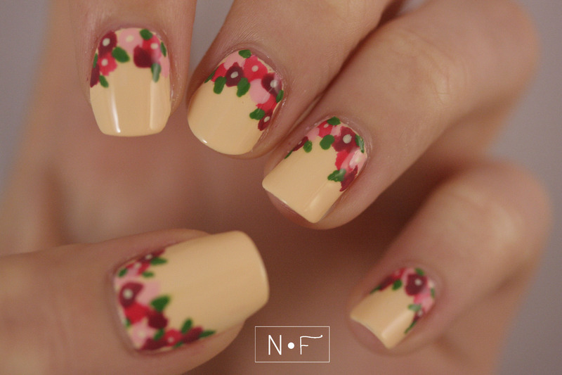 flowers at the bottom nail art by NerdyFleurty